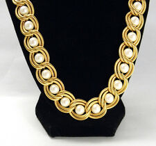 """VTG Gold Pearl Necklace Double Link Wedding Woven Braided 24"""" Matinee Costume"""
