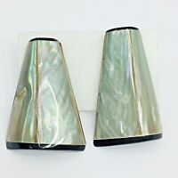 Abalone Shell Inlaid Vintage Earrings Pierced Post Modernist Trapezoid Gray MOP