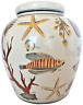 Aquatic Nautical Large Porcelain Lidded Ginger Jar / Urn; Chinese handpainted