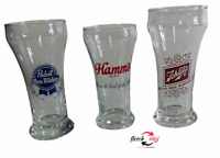 3 Vintage Pabst Hamm's Schlitz Clear Glass Draft Glasses Assortment Mancave +