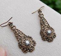 Vintage Victorian Design Filigree Drop Crystal Rhinestone Paste Dangle Earrings