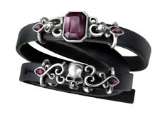 Gothic, Pewter Skull, Leather, Crystals New: Pirate Princess Bracelet by Alchemy