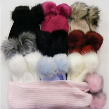 NEW BABY GIRLS FAUX FUR  POM SCARF. WINTER WARM LARGE MATCHING POM 1-8 Years