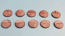 10 X Painted 25mm resin bases Cobbles with Kerbs and Rubble, Bolt Action