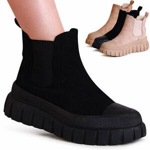 Damen Plateau Stiefeletten Velours Chelsea Boots Ankle Boots Keilabsatz