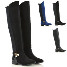 Womens Over The Knee High Flat Low Heel Ladies Stretch Calf Leg Zip Casual Boots