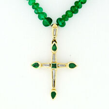 "Vintage 18k Gold 15.5"" GIA Emerald Bead Necklace & Channel Diamond Cross Pendant"