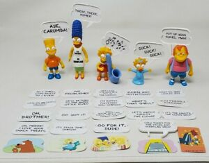 The Simpsons Action Figures Lot Of 5 W/ 24 Extra Quotes Phrases 1990 Vintage