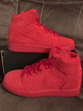 NIKE AIR JORDAN 1 RETRO HIGH BG (705300-603) GYM RED/SUEDE SZ. 7Y  =WMNS 8.5
