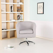 Premium Swivel Tub Chair Armchair Dining Living Room Office Fabric Light Grey