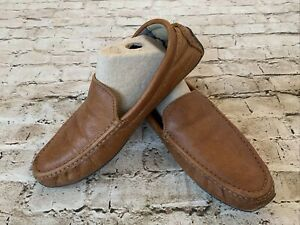 LL BEAN brown Leather Driving Moccasin Slippers Size 9 Slip On