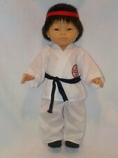 "18"" Oriental Little Boy Doll In Karate Outfit By Berenguer"