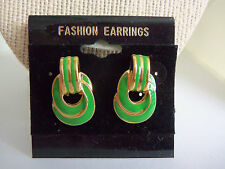 "1"" Long Enamel & Goldtone Door Knocker Pierced Fashion Earrings"
