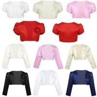 Kids Girls Bolero Shrug Jacket Flower Dress Cover Up Beaded Short Cardigan Coat