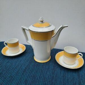 Art Deco Elegant Coffee Part Set x2 cups & saucers + Coffee Pot.