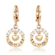 Sweet Love Round Yellow Gold Plated Crystal dangle Heart Hoop Earrings Womens