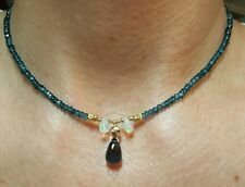 London Blue Topaz briolette Ethiopian Fire Opal solid 14k gold necklace