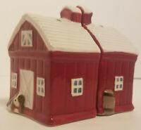 Pioneer Woman Rustic Red Barn Ceramic Salt & Pepper Shaker Set with Doggies