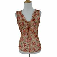 BCBGMaxazria Silk Sheer Top Women's Size XS Ruffle Trim Tie Front Floral Shirt