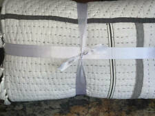 New~Pottery Barn~Nellie Pick-Stitch Tassel Cotton Quilt~Charcoal ~King