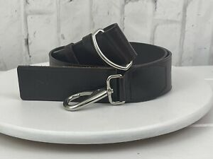 """Cole Haan Wide Leather Silver Hook Buckle Belt Sz XL Adjustable up to 44""""  NWOT"""