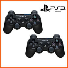NEW 2 X Sony Playstation 3 PS3 Dualshock Wireless Black Controllers