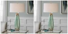 TWO NEW CRACKLED PALE MINT GREEN CERAMIC TABLE LAMP BRUSHED NICKEL CRYSTAL FOOT