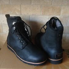 UGG HANNEN TL BLACK WATERPROOF LEATHER FUR WORK BOOTS SHOES SIZE US 7 MENS
