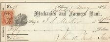 1866 MECHANICS AND  FARMERS BANK , ALBANY,  NEW YORK  VIGNETTE AND REVENUE STAMP