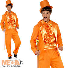 Orange Tuxedo Mens Fancy Dress Dumb & Dumber Novelty 90s Pimp Adult Costume Suit