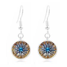 Jewel Art Photo Tibet Silver Dome Photo 16MM Glass Cabochon Long Earrings #266