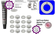 50 Fabric Cover Button 19mm Earrings DIY KIT Studs Stainless Steel glue & tools