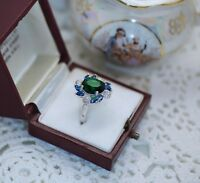 Art Deco Vintage Jewelry Gold Ring Emerald White Sapphires Antique Jewellery