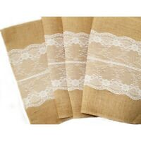 Hessian Burlap Table Runner and with Lace Wedding Cloth Rustic Country Decor
