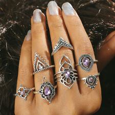 7Pcs Antique Silver Punk Purple Crystal Midi Knuckle Finger Rings Party Jewelry