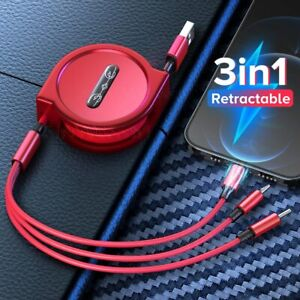 1.2m 3 In 1 USB Retractable Charge for iPhone Micro USB Type C Cable Samsung USB
