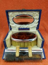 More details for antique sterling silver hallmarked case tortoise shell brush & comb set 1926 aao