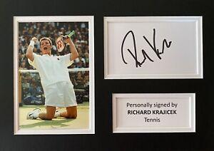 Richard KrajicekHand Signed White Card In A4 Tennis Mount Display