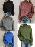Women Long Sleeve Knitted Baggy Sweater  Jumper Oversized Pullover Tops