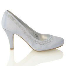 3a5bb79a548 Womens Bridal Diamante Low Mid Heel Ladies Wedding Evening Prom Party Shoes  3-8