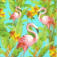 4x Single Paper Napkins -Craft Flamingo- for Party, Decoupage Decopatch