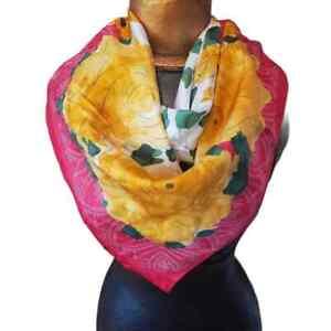 "Vintage Vera Neumann Large Silk Floral Scarf Red/Yellow/Green/White 34"" x 33"""