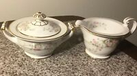 Rose China Occupied Japan, Japanese Roses Sugar Bowl And Creamer With Gold Trim
