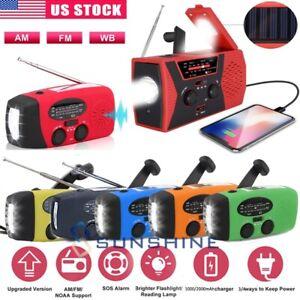 Emergency Solar Hand Crank Dynamo AM/FM Weather Radio LED Flashlight USB Charger