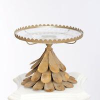 Tortenplatte Glas Kuchenplatte Gold Mit Glas Alte Fuss Servierplatte Glamour