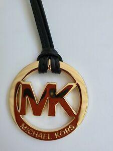 New Michael Kors Gold MK Logo Charm Hang Tag black Leather Strap