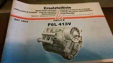Ersatzteilliste Spare Parts Catalog Deutz F6L 413V 297 1903 Spare Parts Catalog