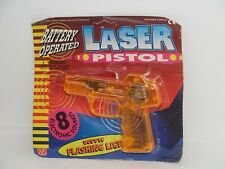 Vintage Battery Operated Orange Laser Pistol w/ Flashing Lights by NS