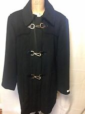 Calvin Klein Toggle Clip Wool Blend Coat 3X Black MISSING HOOD New w/ Defects