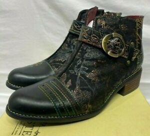 Spring Step Women Black Multi Leather Boots Booties Georgiana 39 8.5 M L'Artiste